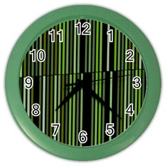 Shades Of Green Stripes Striped Pattern Color Wall Clocks