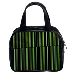 Shades Of Green Stripes Striped Pattern Classic Handbags (2 Sides) by yoursparklingshop