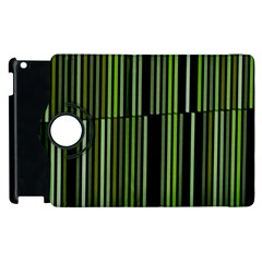 Shades Of Green Stripes Striped Pattern Apple Ipad 3/4 Flip 360 Case by yoursparklingshop