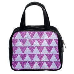 Triangle2 White Marble & Purple Glitter Classic Handbags (2 Sides) by trendistuff