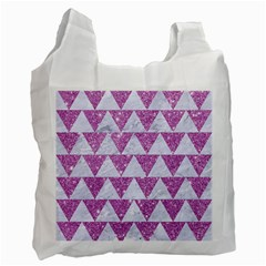 Triangle2 White Marble & Purple Glitter Recycle Bag (one Side) by trendistuff