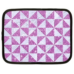 Triangle1 White Marble & Purple Glitter Netbook Case (large) by trendistuff