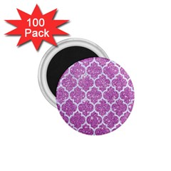 Tile1 White Marble & Purple Glitter 1 75  Magnets (100 Pack)  by trendistuff