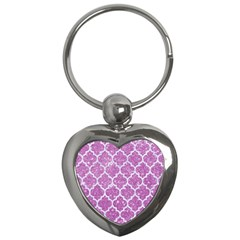 Tile1 White Marble & Purple Glitter Key Chains (heart)  by trendistuff