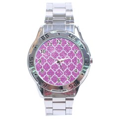 Tile1 White Marble & Purple Glitter Stainless Steel Analogue Watch by trendistuff