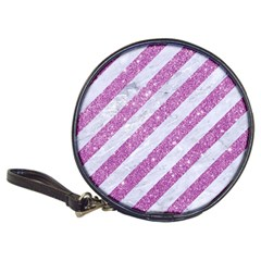 Stripes3 White Marble & Purple Glitter (r) Classic 20 Cd Wallets by trendistuff