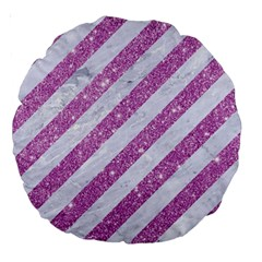 Stripes3 White Marble & Purple Glitter (r) Large 18  Premium Round Cushions by trendistuff
