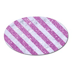 Stripes3 White Marble & Purple Glitter Oval Magnet by trendistuff