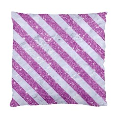 Stripes3 White Marble & Purple Glitter Standard Cushion Case (two Sides) by trendistuff