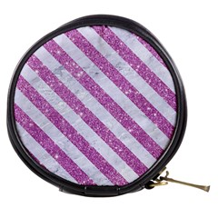 Stripes3 White Marble & Purple Glitter Mini Makeup Bags by trendistuff