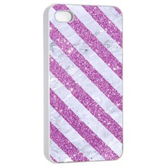Stripes3 White Marble & Purple Glitter Apple Iphone 4/4s Seamless Case (white) by trendistuff