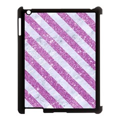 Stripes3 White Marble & Purple Glitter Apple Ipad 3/4 Case (black) by trendistuff