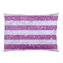 Stripes2white Marble & Purple Glitter Pillow Case (two Sides) by trendistuff