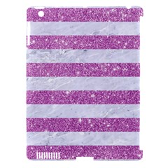 Stripes2white Marble & Purple Glitter Apple Ipad 3/4 Hardshell Case (compatible With Smart Cover) by trendistuff