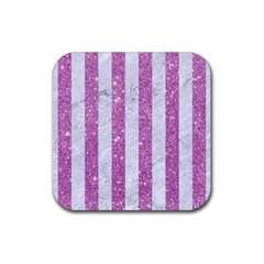 Stripes1 White Marble & Purple Glitter Rubber Coaster (square)