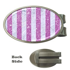 Stripes1 White Marble & Purple Glitter Money Clips (oval)  by trendistuff