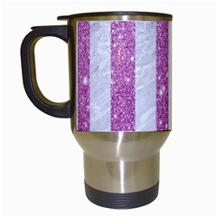 Stripes1 White Marble & Purple Glitter Travel Mugs (white) by trendistuff