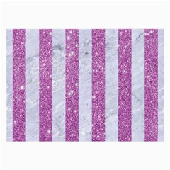 Stripes1 White Marble & Purple Glitter Large Glasses Cloth by trendistuff