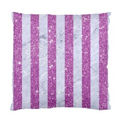 Stripes1 White Marble & Purple Glitter Standard Cushion Case (two Sides) by trendistuff