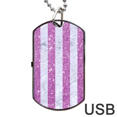 Stripes1 White Marble & Purple Glitter Dog Tag Usb Flash (one Side) by trendistuff