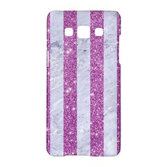 Stripes1 White Marble & Purple Glitter Samsung Galaxy A5 Hardshell Case  by trendistuff