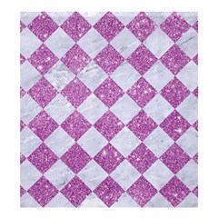 Square2 White Marble & Purple Glitter Shower Curtain 66  X 72  (large)  by trendistuff