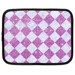 Square2 White Marble & Purple Glitter Netbook Case (xl)  by trendistuff