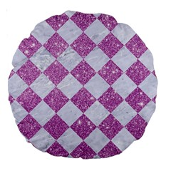 Square2 White Marble & Purple Glitter Large 18  Premium Round Cushions by trendistuff