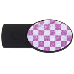 Square1 White Marble & Purple Glitter Usb Flash Drive Oval (4 Gb)