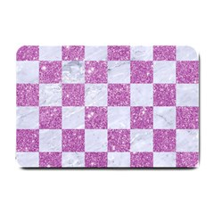 Square1 White Marble & Purple Glitter Small Doormat  by trendistuff