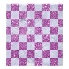 Square1 White Marble & Purple Glitter Shower Curtain 66  X 72  (large)  by trendistuff