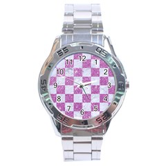 Square1 White Marble & Purple Glitter Stainless Steel Analogue Watch by trendistuff