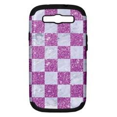 Square1 White Marble & Purple Glitter Samsung Galaxy S Iii Hardshell Case (pc+silicone) by trendistuff