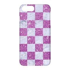 Square1 White Marble & Purple Glitter Apple Iphone 8 Plus Hardshell Case by trendistuff