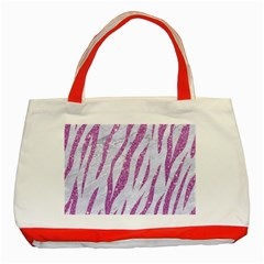 Skin3 White Marble & Purple Glitter (r) Classic Tote Bag (red) by trendistuff