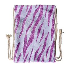 Skin3 White Marble & Purple Glitter (r) Drawstring Bag (large) by trendistuff