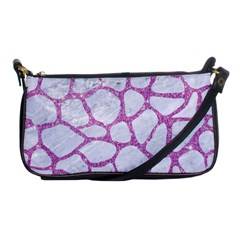 Skin1 White Marble & Purple Glitter Shoulder Clutch Bags by trendistuff