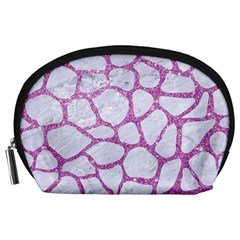 Skin1 White Marble & Purple Glitter Accessory Pouches (large)  by trendistuff