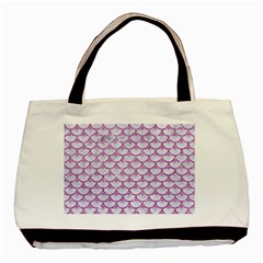 Scales3 White Marble & Purple Glitter (r) Basic Tote Bag