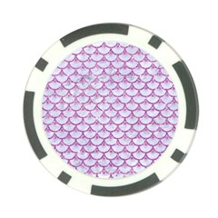 Scales3 White Marble & Purple Glitter (r) Poker Chip Card Guard by trendistuff