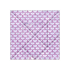 Scales3 White Marble & Purple Glitter (r) Acrylic Tangram Puzzle (4  X 4 ) by trendistuff
