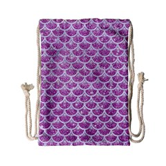 Scales3 White Marble & Purple Glitter Drawstring Bag (small) by trendistuff