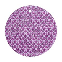 Scales2 White Marble & Purple Glitter Round Ornament (two Sides) by trendistuff