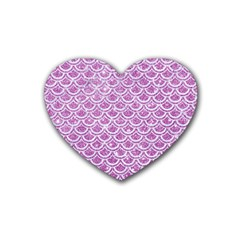 Scales2 White Marble & Purple Glitter Heart Coaster (4 Pack)  by trendistuff