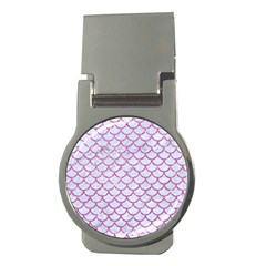 Scales1 White Marble & Purple Glitter (r) Money Clips (round)  by trendistuff