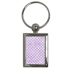 Scales1 White Marble & Purple Glitter (r) Key Chains (rectangle)  by trendistuff