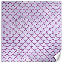 Scales1 White Marble & Purple Glitter (r) Canvas 16  X 16   by trendistuff