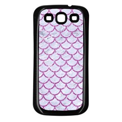 Scales1 White Marble & Purple Glitter (r) Samsung Galaxy S3 Back Case (black) by trendistuff