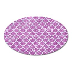 Scales1 White Marble & Purple Glitter Oval Magnet by trendistuff