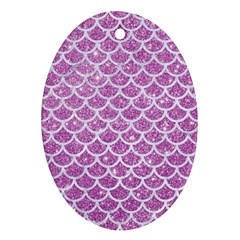 Scales1 White Marble & Purple Glitter Oval Ornament (two Sides) by trendistuff